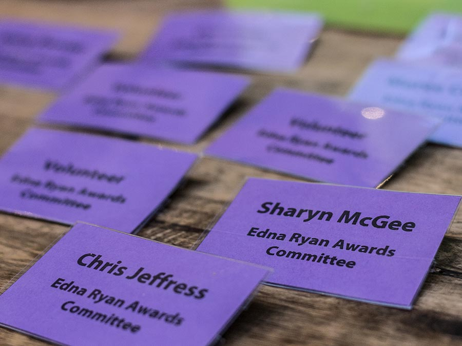 Name badges on a table