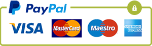 PayPal Secure and credit card logo. Mastercard, visa, maestro, American Express