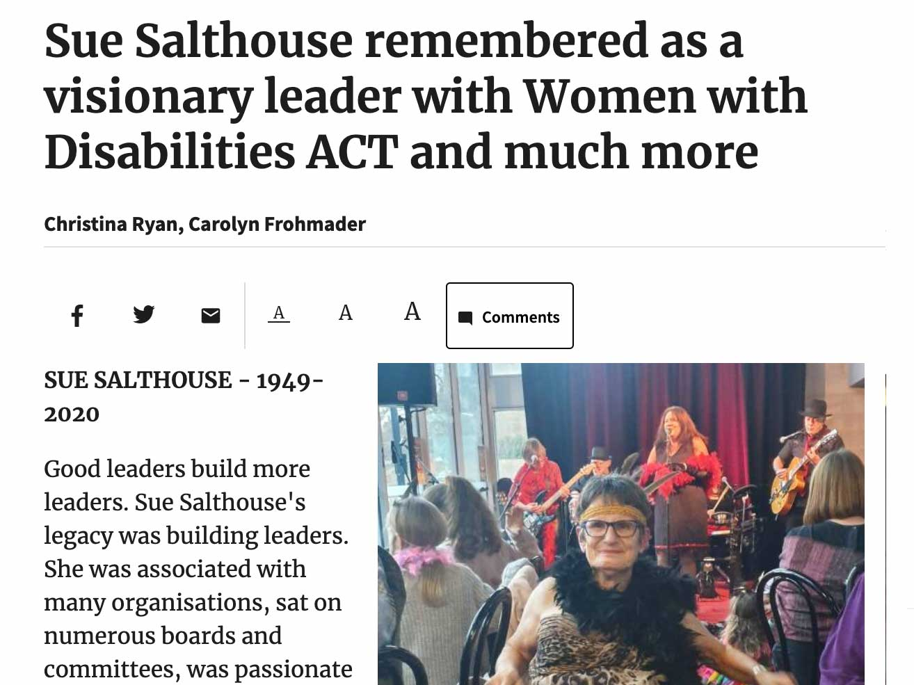 Article headline: Sue Salthouse remembered as a visionary leader with Women with Disabilities ACT and much more