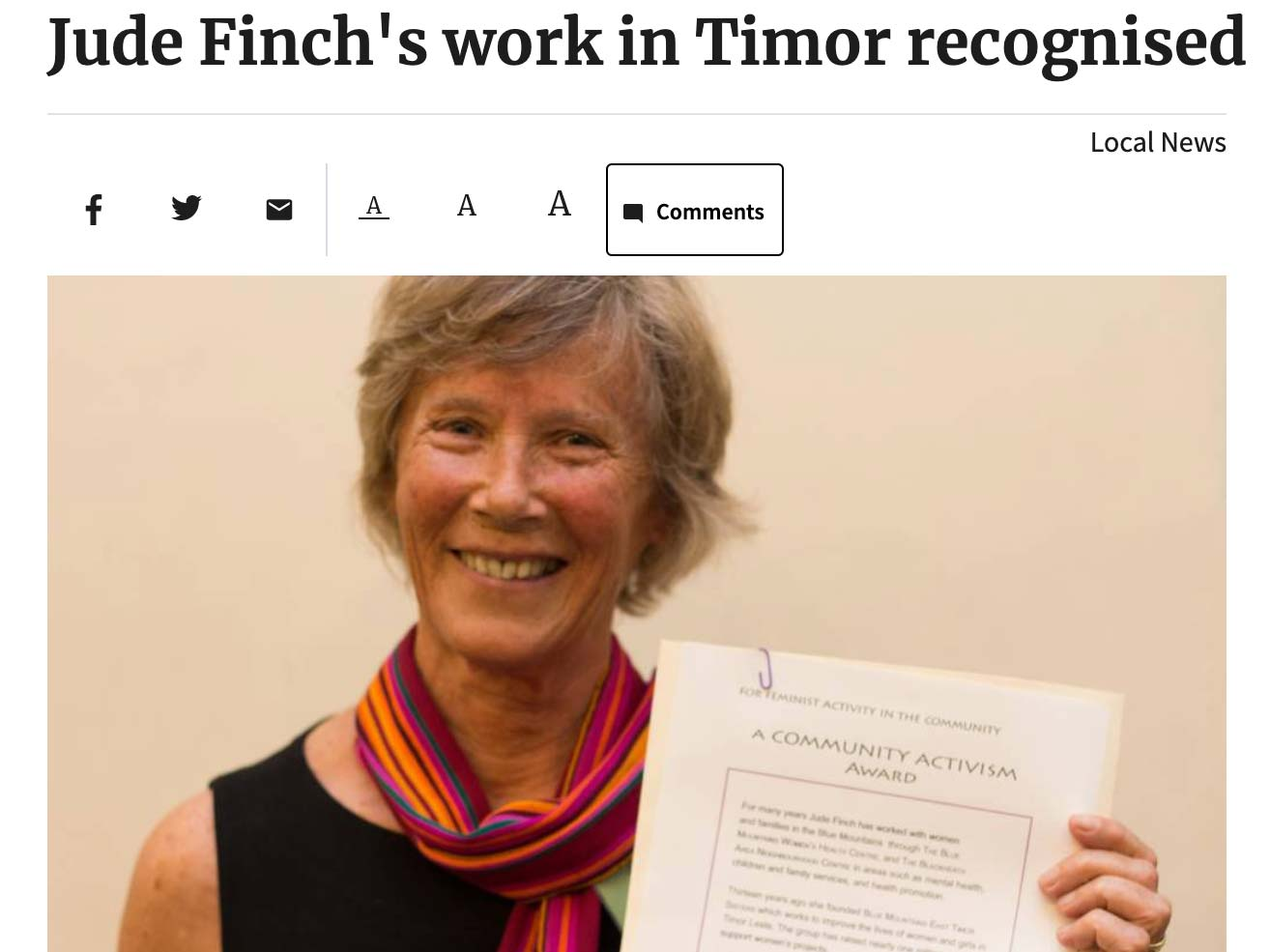 Article headline: Jude Finch's work in Timor recognised