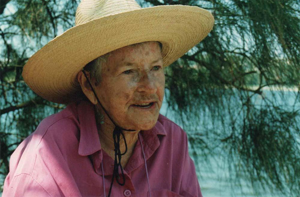 Edna Ryan-in the bush wearing a hat