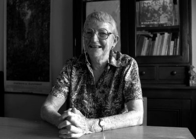 Feminist and labour activist Edna Ryan, sitting at her kitchen table, at her home in Glebe